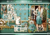 Art Deco Lady Lily Christmas 4 Sheet mini Kit Aqua