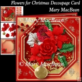 Flowers for Christmas Decoupage Card
