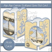 Aye Aye Captain Scalloped Gate Fold Card