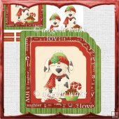 Christmas puppy card with decoupage