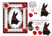 Black Scottie Puppy Dog - Card Topper With Decoupage