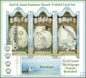 Surf & Sand Summer Beach Trifold Screen Card Set Decoupage