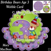 Birthday Bears Age 3 Wobble Card