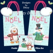 Penguin and Snowman Noel Gift Bags with freebie Pillow Box