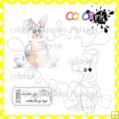 Happy Easter Bunny and Sentiment Digital Stamps