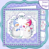 SNOWMAN COUPLE 7.5 Christmas Decoupage & Insert Mini Kit