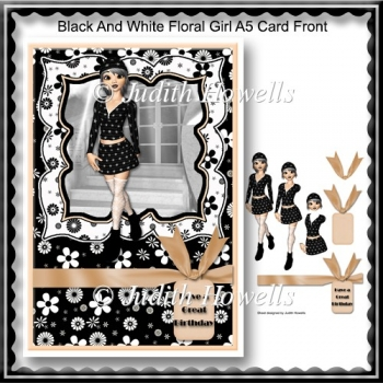 Black And White Floral Girl A5 Card Front