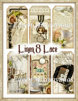 Linen and Lace Shabby Chic Tag Set