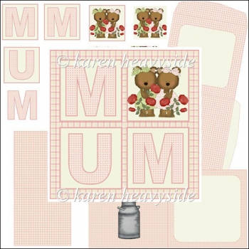 Mum Rose Bears Square Card