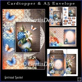 Cardtopper with Matching Envelope Blue Orange 896