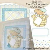 Ready to Print Big Frame Easel card Worksheet - BABY BOY