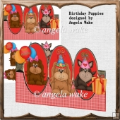 birthday puppies over the edge card with decoupage and sentiment
