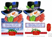 Lovely over the edge card with snowman in big hat