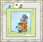 A Game of golf 7x7 card with decoupage