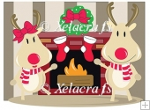 Mr and Mrs Rudy Reindeer By The Fireplace