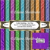 Cable Knitting - Set One - Ten 12 x 12 Printable Sheets