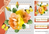 shades of peach/lemon roses with butterflies & bow 8x8