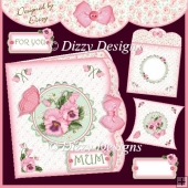 Pink Pansies – Double edge effect card with Pillow Box