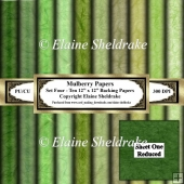 Shades Of Green Mulberry Paper - Set Four - Ten 12 x 12