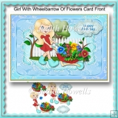 Girl With Wheelbarrow Of Flowers Card Front