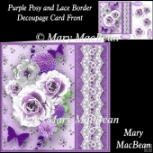 Purple Posy and Lace Border Decoupage Card Front
