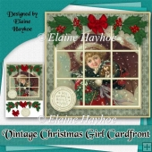 Vintage Christmas Girl Card Front