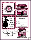 Girlfriend Shopping Invitation Card & Boutique Clipart