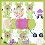 Easter Bear Bunny Green 1 Clip Art
