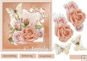 Vintage rose and butterfly 7x7