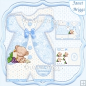 Blue Christening Suit Boy Shaped Card Kit
