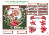 Christmas Poinsettias Watercolour Ginger & White Tabby Cat - 6 x