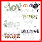 Peace ~ Joy ~ Noel ~ Believe ~ Hope Titles COLOR Digital Stamps