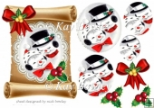 cute snowmen cuddling on lace scroll pyramids with holly