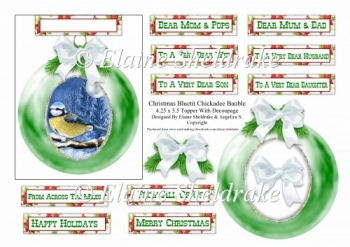 Christmas Bauble Bluetit Chickadee - To Fit A 4.25 x 5.5 Card