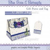 Blue Rose and Butterfly Gift Purse