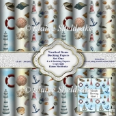 Nautical Items Seaside Boats Shells Lighthouse 8x8 Backing Paper