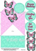 Butterflies and Lace Diamond Top Spring Card Pink and Green