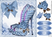 blue polkadot shoe with bow and roses 8x8