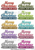 10 Coloured Merry Christmas & Happy New Year Banners