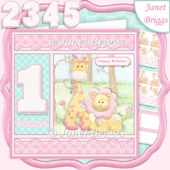 BIRTHDAY AGES 1 TO 5 Lion & Giraffe Decoupage & Insert Kit