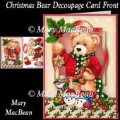 Christmas Bear Decoupage Card Front