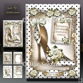 White Polka Dot Shoes With Roses Card Mini Kit