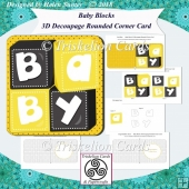 Baby Blocks 3D Decoupage Rounded Corner Card New Baby Yellow