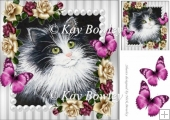 Lovely Black and white kitten with pink/cream roses 8x8