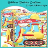 Bulldozer Birthday Cardfront with Decoupage