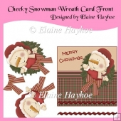 Cheeky Snowman Wreath Decoupage Card Front
