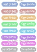 Happy Birthday tags in white in two different fonts