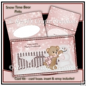 Snow Time Bear Card Kit - Pink