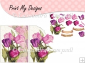 Purple Tulips Scalloped Edge Envelope card with Decoupage