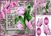 pretty corner pink tulips with bow, butterfly & brick effect 8x8